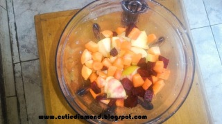 Blender of chopped Beetroot Carrot and Apple