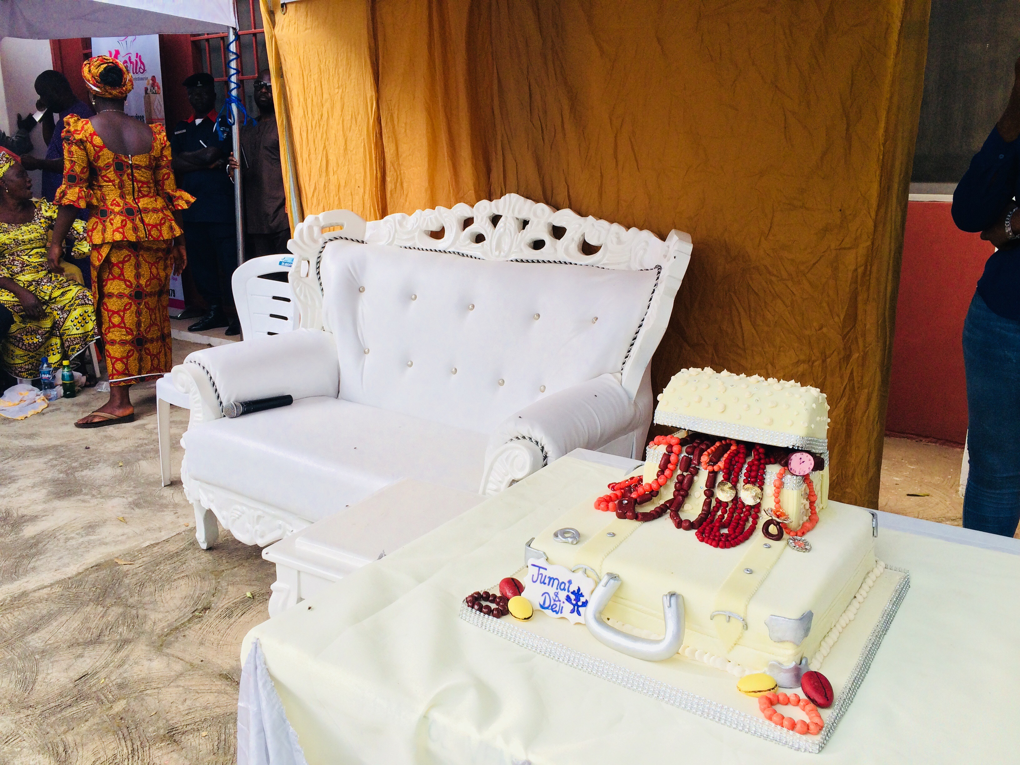 The royal seat for the bride and groom
