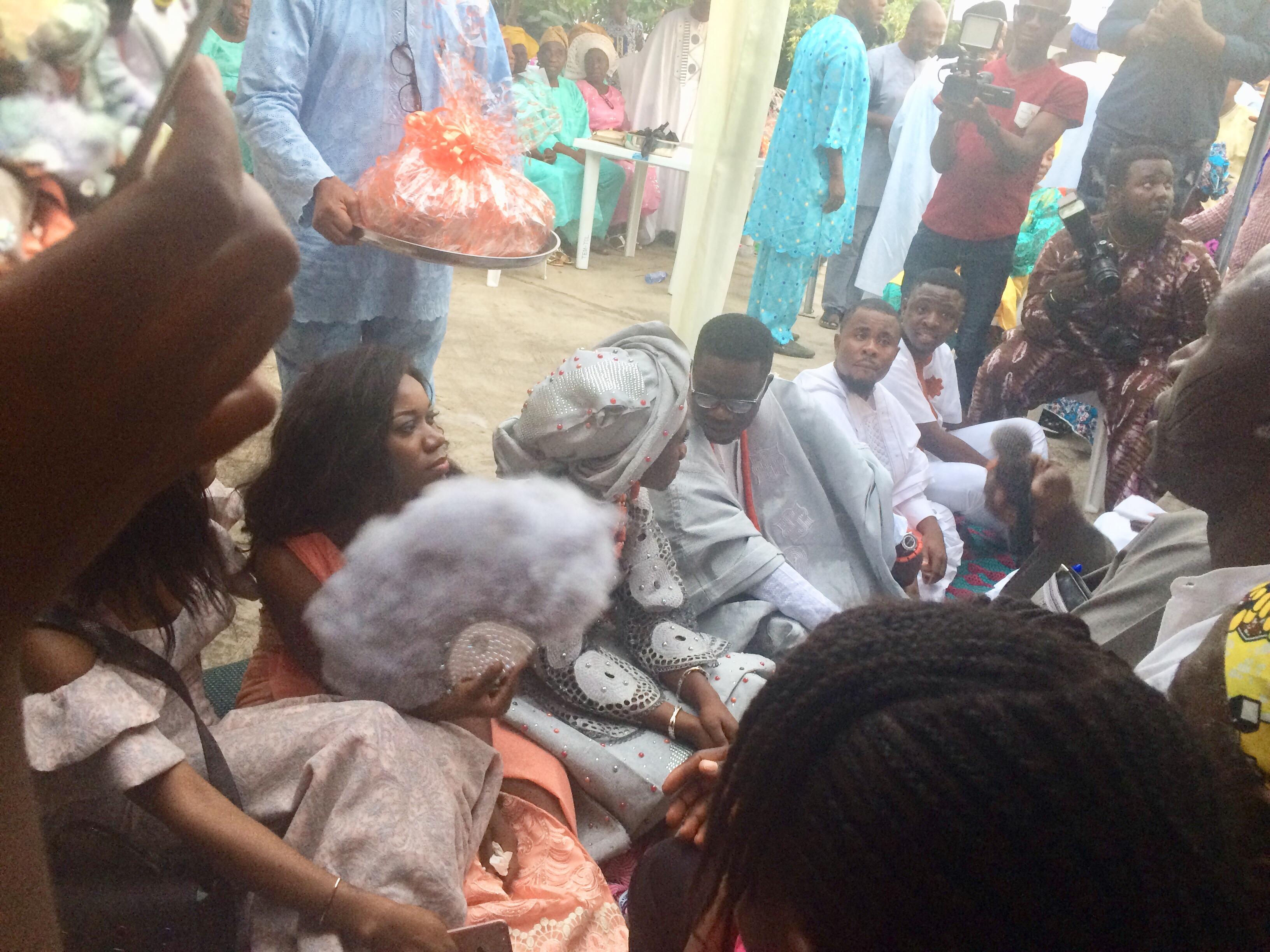 Bride and groom conversing
