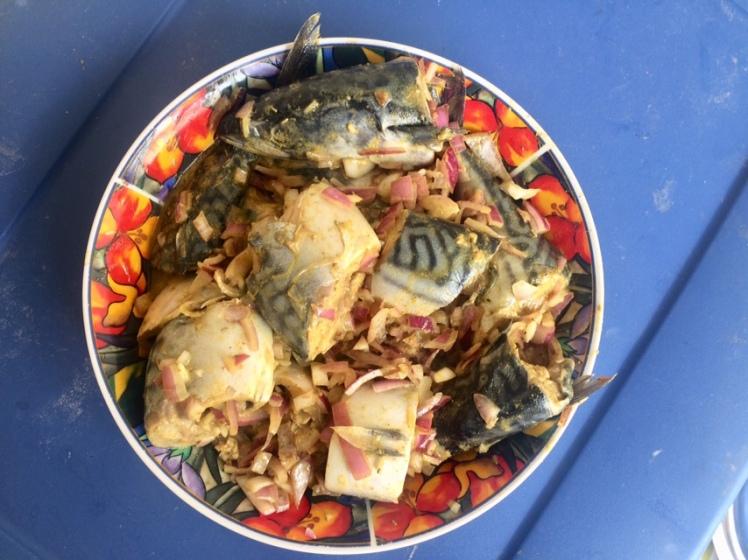 Bowl of seasoned fish
