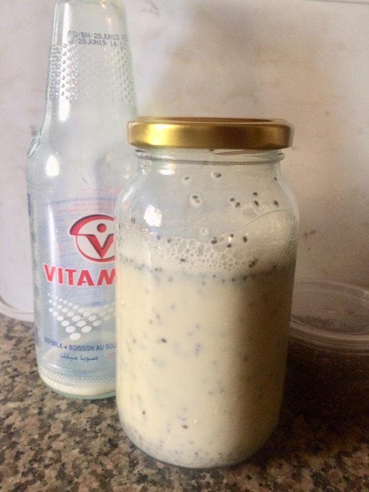 Chia seeds in soy milk