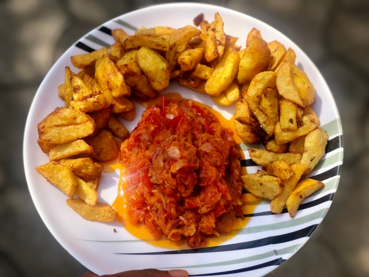 Potatoes with carrot sauce