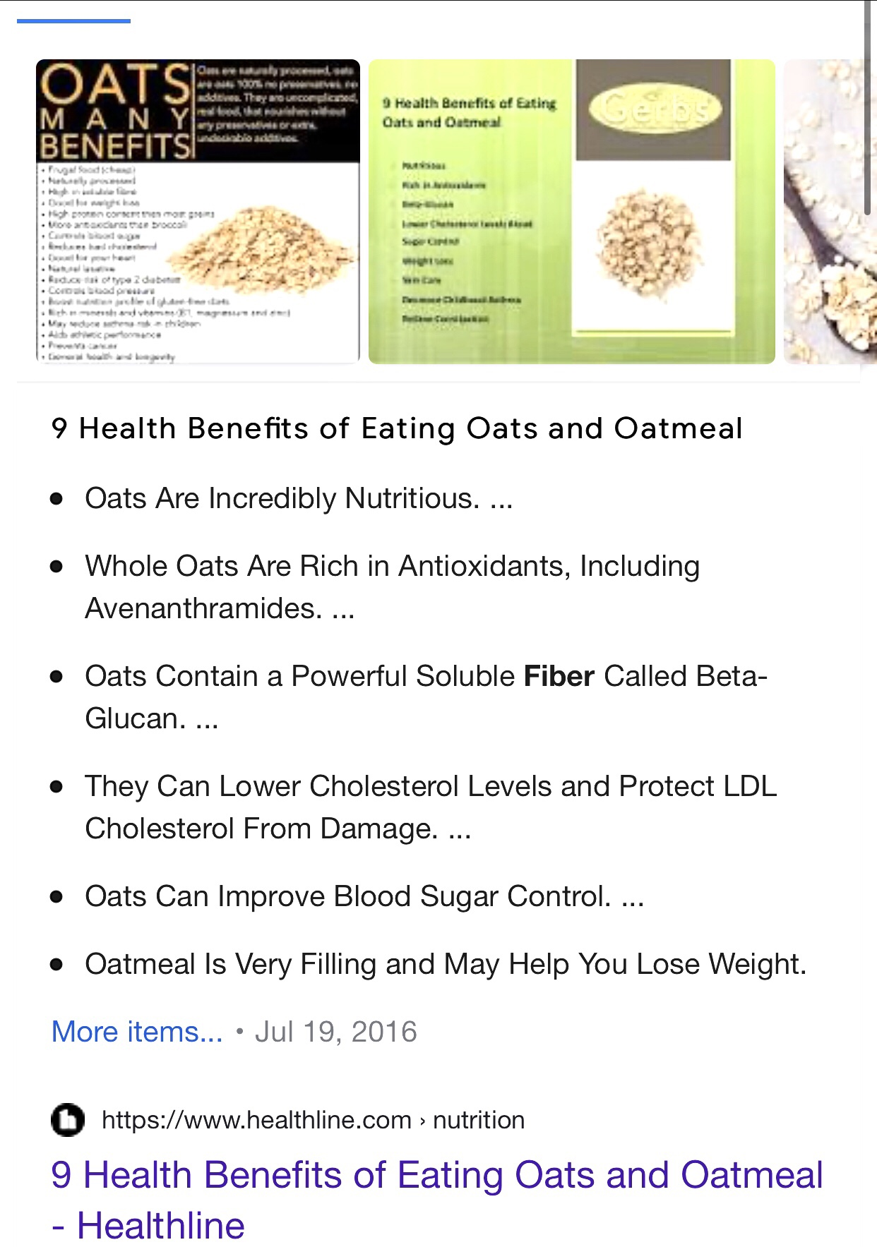 Information on oats benefit