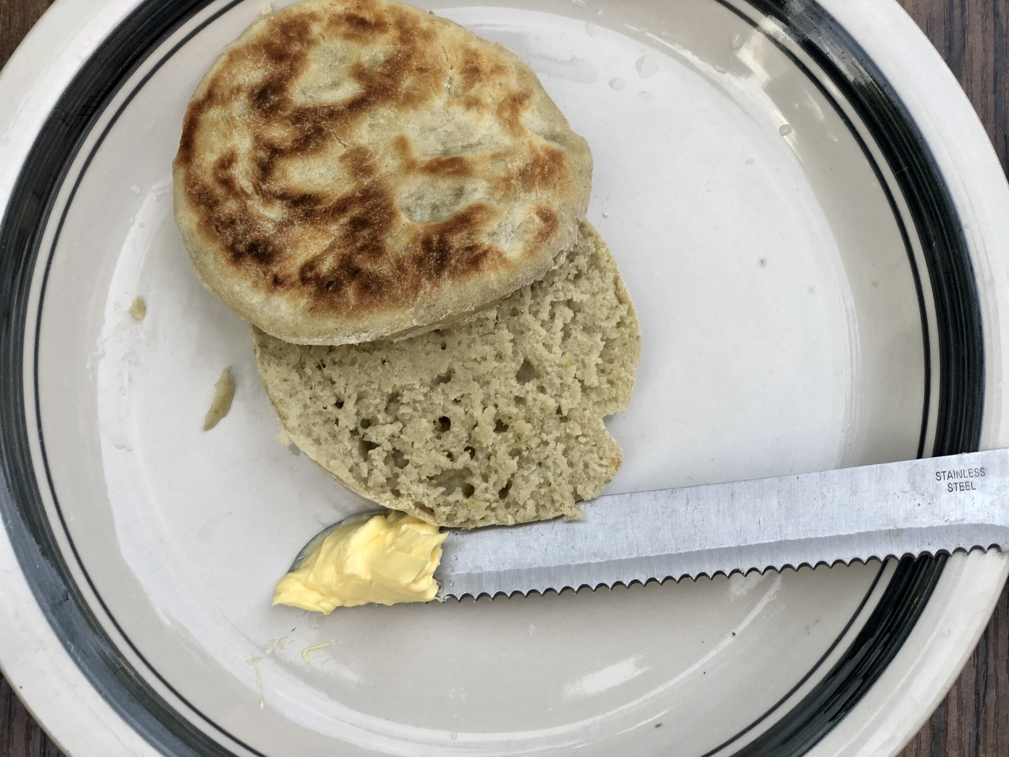 Cooked no knead, no oven bread (buns) and butter
